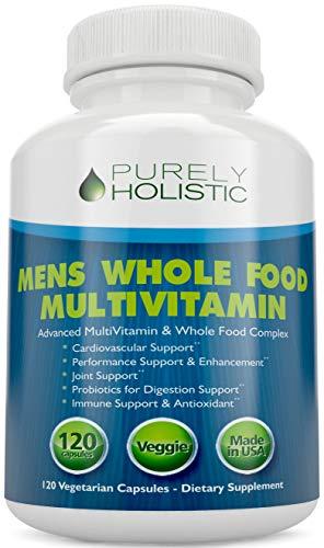 Multivitamin for Men Daily Supplement 120 Capsules Whole Food Multivitamin, Mens Multivitamin Organic, Vitamins, Minerals, Probiotics, Zinc, Selenium, Spirulina, Calcium, Turmeric, Magnesium