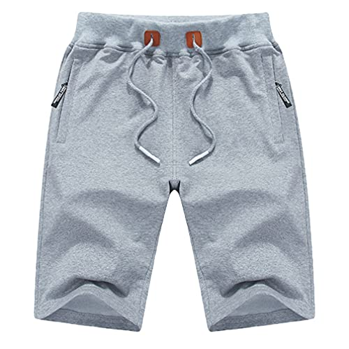 yuyangdpb Men's Workout Shorts Casual Cotton Elastic Sport Running Shorts with Zipper Pocket LightGray 34