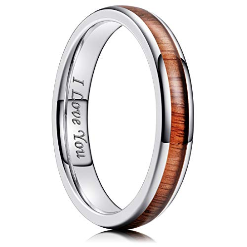 King Will Nature 4mm Silver Domed Koa Wood Stainless Steel Ring Wedding Band High Polished8