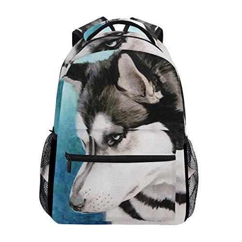 DERLONKAJE Siberian Husky Backpacks School Book Bag Travel Hiking Camping Daypack