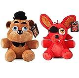 lili-nice Peluches Freddy & Foxy Five Nights At Freddy 4 FNAF Freddy Fazbear Bear & Fox Foxy Peluches Peluches Muñeca Regalos 2Pcs / Lot 25Cm
