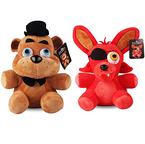 Freddy & Foxy Plush Toy Five Nights At Freddy 4 FNAF Freddy Fazbear Bear & Fox Foxy Plush Peluches Mueca...