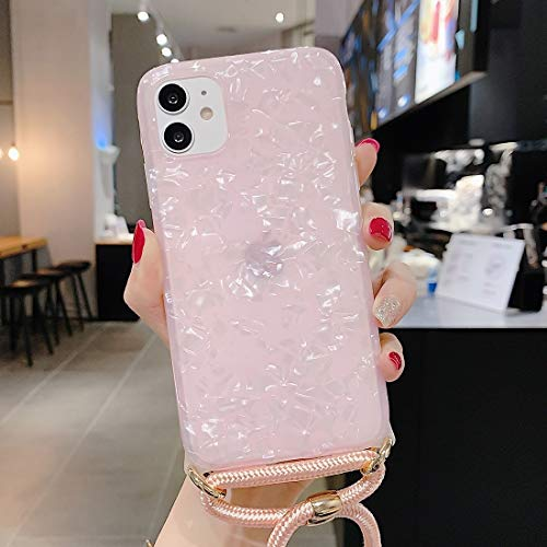 Xyamzhnn Funda telefónica para iPhone 11 Pro MAX Patrón de cáscaras láser Suave TPU Protectora con Correa de Hombro (Color : Pink)