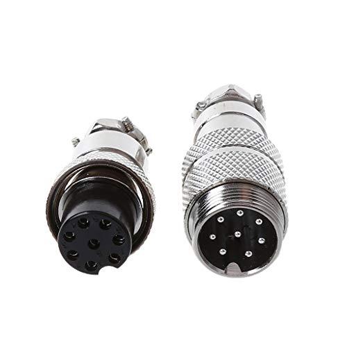 ESden Gx16 - Conector Macho de aviación para bujías Hembra (2/3/4/5/6/7/8 Pines), Plateado