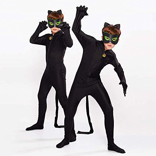 albright Kids Festlich Jumpsuit Cat Noir Kostüm Set, Kinder Cartoon Jumpsuit für Halloween Karneval Weihnachten Cosplay Fasching Party 122/128