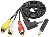 AAOTOKK 90 Gradi 3,5 mm a RCA Cavo Adattatore Audio,Angolo Retto 3,5 mm Maschio a 3 RCA Maschio Audio Stereo AUX TTRS Cavo Adattatore per AV, Audio, Video, TV LCD, HDTV ecc. (1 m/3Piedi-M/M)