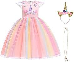 URAQT Robe Licorne Enfant de Princesse, Robes Fille, Robe de Princesse avec Licorne, Unicorn Party