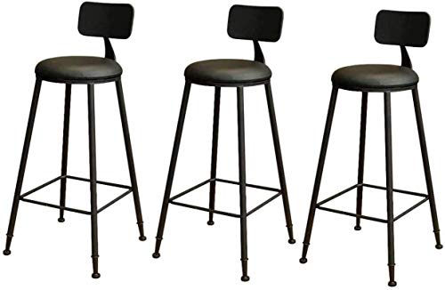 Zfggd bar stool Furniture Barstools Dining Chair Iron Art Bar Stools Retro/Vintage Rustic Pub Designer Stool Industrial Style For Kitchen (Color : Set of 3)