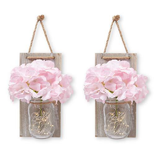 Hanging Mason Jar Wall Decor Sconce with LED Fairy Lights, Rustic Wood with Beautiful Pink and Cream Flowers Included for Home, Kitchen, Bathroom, Bedroom, Farmhouse & Girls Room Decorations