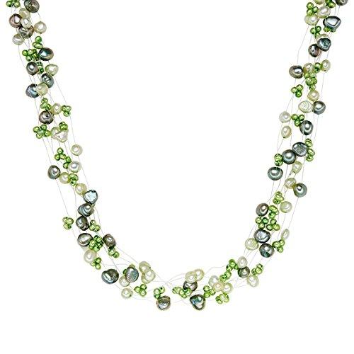 Valero Pearls Kette Süßwasser-Zuchtperlen maigrün jade