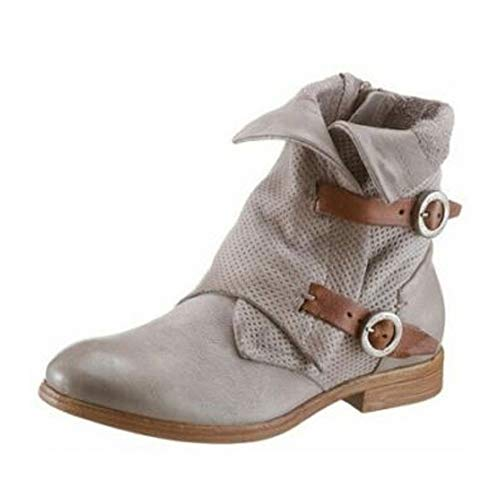 Arizona Damen Leder Combat Stiefel Biker Boots Schuhe Stiefeletten grau : EUR 36 Schuhgröße EUR 36