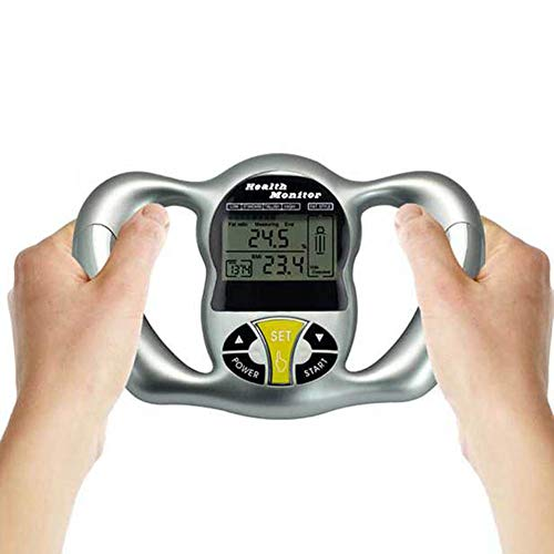 QXM Medidor de grasa corporal, medidor de grasa, medidor de calorías, para el cuidado de la salud, probador de escala de grasa, índice de masa de IMC, calorías, color plateado