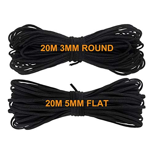 20m Goma Elastica 3mm Redondo + 20m Cordón Elástico 5mm Plano Negro Costura Cuerda Redondos Cintas Elástico Y Manualidades...