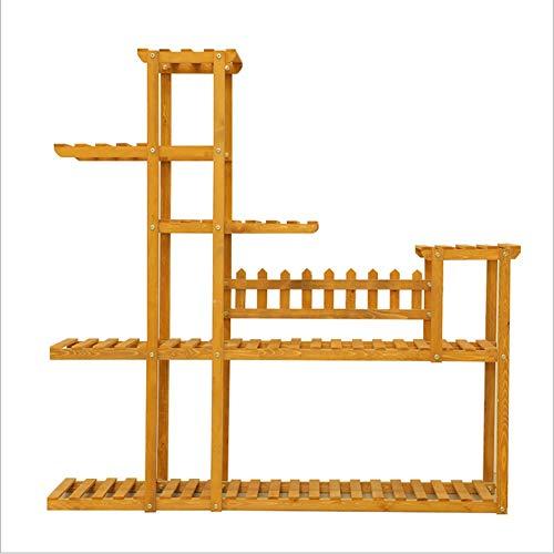 Udfybre Présentoir à fleurs 5 étages Étagère de rangement Grande capacité Échelle en bois Décoration de balcon Maison, Taille M