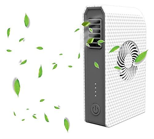JeeKoudy Pequeño Ventilador Personal con 6000mAh Bank Power Handheld Web Skin Fan con Cargador portátil (Color : White)