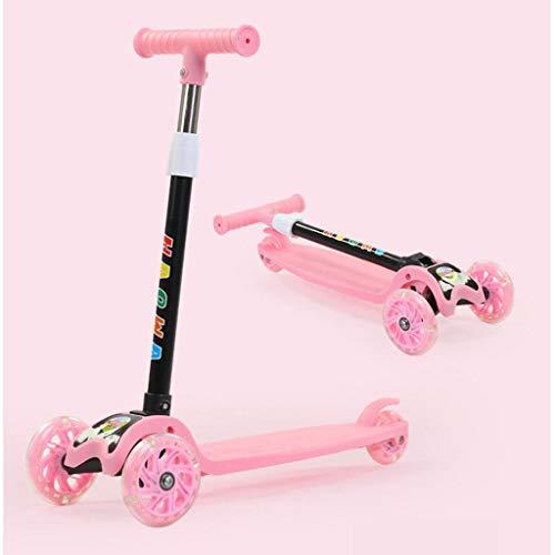 JSZHBC Vespa Plegable portátil Ultraligero con luz Intermitente de la Rueda de la PU Suave y rápido Paseo de Altura Ajustable for no eléctrico Scooter clásico (Color : Pink)