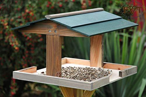Vogelhaus,groß-XXL,DACH DUNKEL-GRÜN / Vogelhaus,wetterfest IN ANTHRAZIT (SCHWARZLASUR),HI-VIERDAORI-at001 NEU ,Vogelhäuser+Vogelhausständer KLASSIK-PREMIUM Vogelhaus,Vogelfutterhaus, Vogelfutterhaus MIT-Futterstation Farbe schwarz lasiert,anthrazit / Holz natur,Ausführung Naturholz MIT WETTERSCHUTZ-DACH - 2