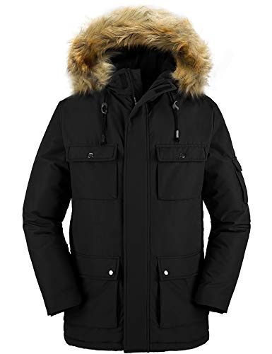 Wantdo Mens Winter Jacket Thicken Quilted Fur Hooded Long Parka Coat Black S