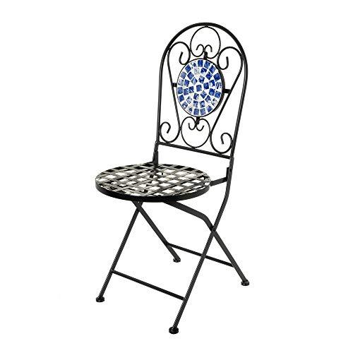 Silla con Mosaico para Exterior de Hierro y cerámica Azules rústicas, de 38x38x92 cm - LOLAhome