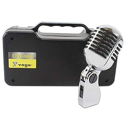 Pulse Silver Chrome Style 1950s Retro Vintage Vocal Microphone Dynamic Karaoke Disc.