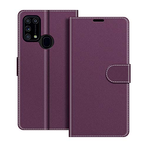 COODIO Handyhülle für Samsung Galaxy M31 Handy Hülle, Samsung Galaxy M31 Hülle Leder Handytasche für Samsung Galaxy M31 Klapphülle Tasche, Violett