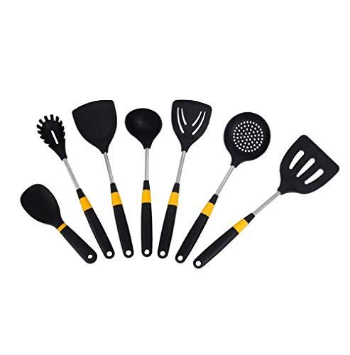 SMSOM 7 Conjunto de utensilios de cocina de cocina de silicona, conjuntos de utensilios de gadget de cocina para encimera mejor cocina utensilios de cocina antiadherente resistente al calor. BPA libre