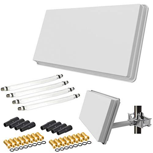 netshop 25 Set: SELFSAT H30D4+ Flachantenne Quad + Fensterhalterung + 4 Fensterdurchführung + 16 F-Stecker + 8 Wetterschutztüllen (Full HD 4K UHD Sat Anlage für 4 Teilnehmer)