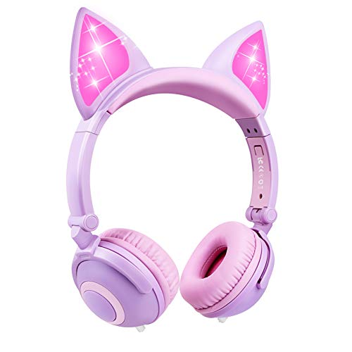 41Qq9oXL3LL - Kids Headphones Girls with 85dB Volume Limiting,Microphone and Volume Control,Safe Foldable On Ear Headphones for Child Children Toddler,Girl Headphones Earphones Headsets for Kids-Pink