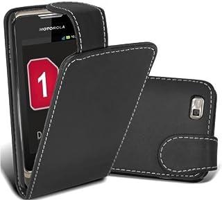 Motorola XT390 svart PU-läder flip fodral + gratis skärmskydd - en del av Fab mobiltelefontillbehör sortiment