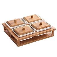 リビングルームセラミックフルーツプレート - クリエイティブフルーツスナックドライフルーツプラターキャンディー蓋収納ボックス (Size : 4 grids)