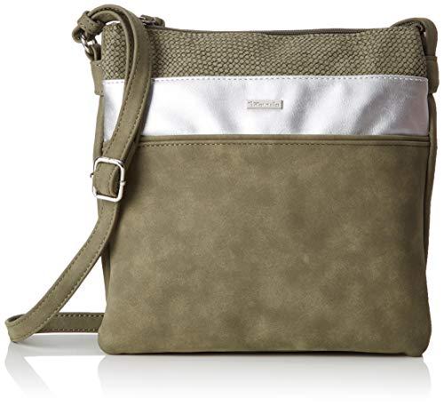 Tamaris Damen Khema Crossbody Bag M Umhängetasche, Grün (Khaki Comb), 2.5x24x25 cm