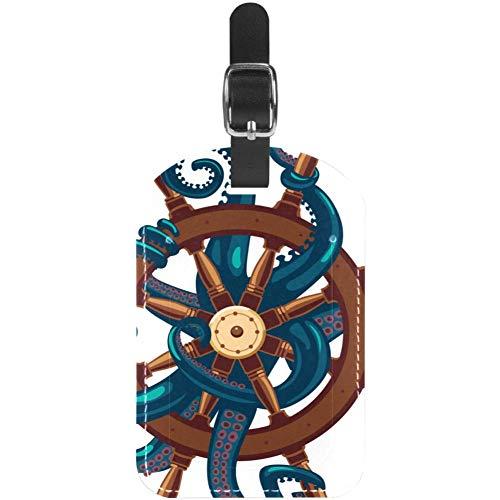 Etiquetas para equipaje Ocyopus con ruedas náuticas de cuero para maleta de viaje, 1 paquete