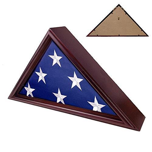 Indeep Flag Display Case 5' x 9.5' Burial Funeral Veteran Flag Holder Box Frame Solid Wood