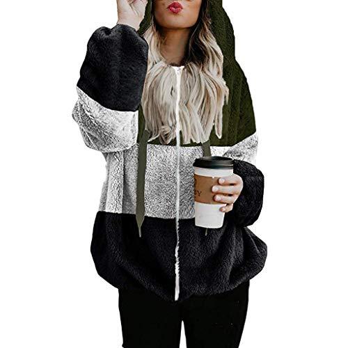 Alueeu Mujer Sudadera Tops Chaqueta Suéter Jersey Otoño Invierno Caliente y Esponjoso Tops con Bolsillos Chaqueta Manga Larga Túnica Cordón Suéter Moda Abrigos Deportivos Pullover Nuevo