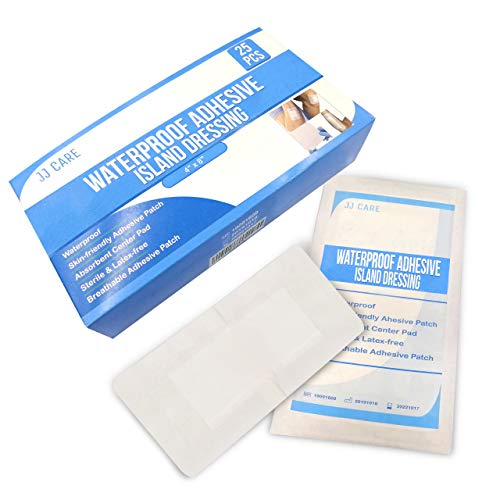 "JJ CARE [Pack of 25] Waterproof Adhesive Island Dressing 4"" x 8"", Sterile Wound Dressing,..."
