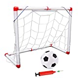Takefuns Mini portería de fútbol portátil para niños, portería de fútbol para niños, juego de red con bomba de bola, juguete deportivo para interiores y exteriores