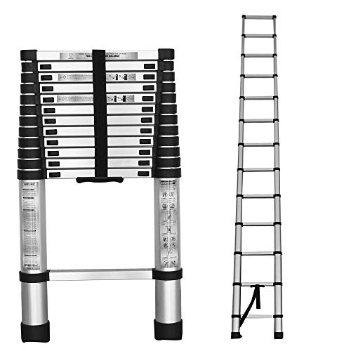 findmall Aluminum Telescopic Extension Ladder Folding Step One-Button Inward Sliding Retraction 10.5FT / 3.2M 12.5FT / 3.8M 14.5FT / 4.4M Multi-Use Non-Slip (12.5FT / 3.8M)