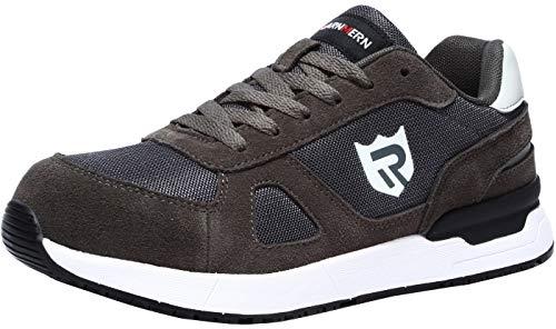LARNMERN Sicherheitsschuhe Herren Damen, SRC rutschfeste Schuhe Arbeitsschuhe mit Stahlkappe Sportlich Schutzschuhe (45 EU Rock Grau)