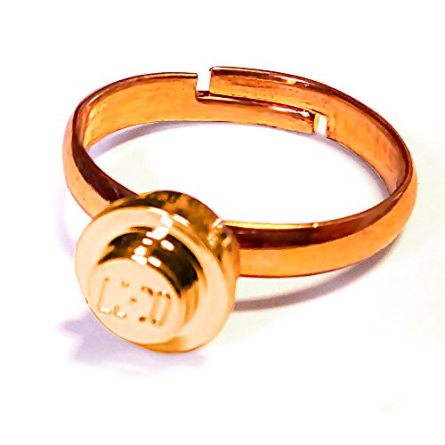 brick ring - Fingerring mit LEGO® Teilchen (gold)