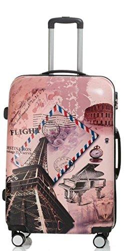 Reise Koffer Trolley mit Polycarbonat ABS Hartschale und Motiv BB (4: 115 Liter - Gr. XL, Eiffelturm)