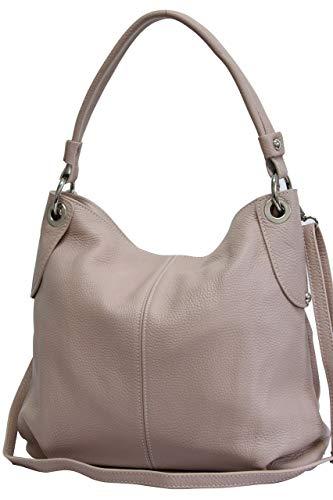 AMBRA Moda Damen echt Ledertasche Handtasche Schultertasche Beutel Shopper Umhängtasche GL012 (Altrosa)