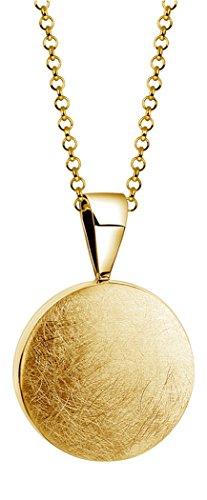 Nenalina Damen Halskette mit Kreis Anhänger gebürstet (13 mm) in Goldfarben, Münzanhänger mit Kette, Goldkette für Frauen und Mädchen, Coinkette vergoldet, 925 Sterling Silber, Länge 45 cm, KAS-040