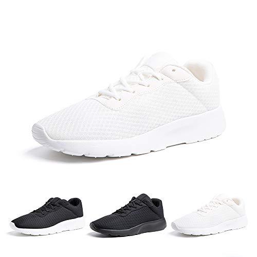 Zapatillas de Running Hombre Mujer Deportivas Casual Gimnasio Zapatos Ligero Transpirable Sneakers Blanco 39 EU
