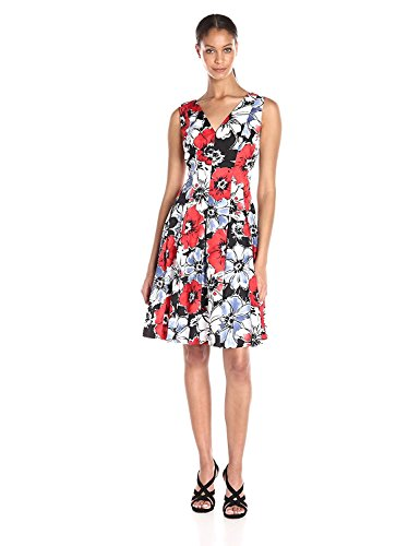 Anne Klein Women's Cotton Printed Double V-Neck Fit-and-Flare Dress
