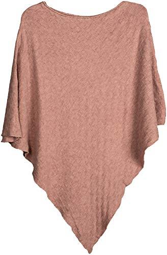 styleBREAKER Damen Feinstrick Poncho mit Karo Schachbrett Struktur, Rundhals 08010053, Farbe:Altrose