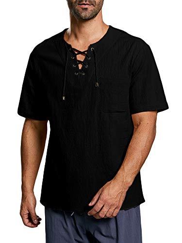 Herren Hemd Kurzarm Mittelalter Freizeithemd Mit Schnürung Regular Fit Baumwolle T Shirt Sommer Tops