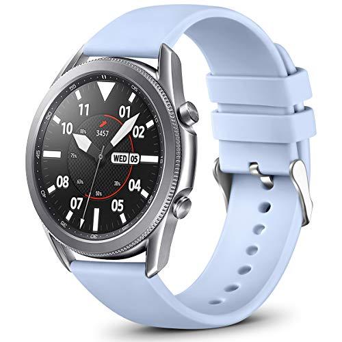 Vobafe 22mm Correa QuickFit Compatible con Garmin Vivoactive 4/Samsung Galaxy Watch 46mm/Watch 3 45mm, Correa Deportivo de Silicona para Garmin Fenix 5/5 Plus/Fenix 6/6 Pro, Pequeña Azul Claro