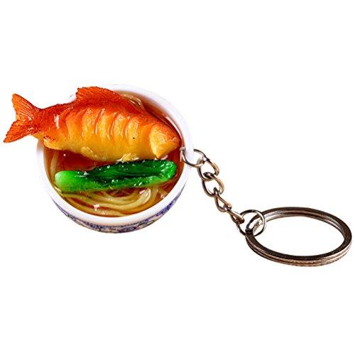 Fenical lebensecht Fressnapf Schlüsselanhänger Porzellan Mini Tasche Anhänger Simulation Lebensmittel Charms Jewelry Creative Schlüsselanhänger (Fisch Nudeln)