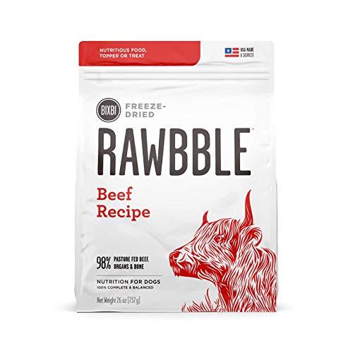 BIXBI Rawbble Freeze Dried Dog Food, Beef Recipe, 26 Oz