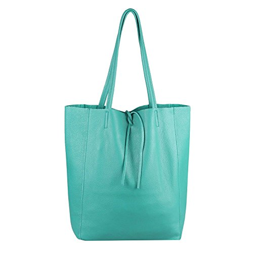 OBC Made in Italy Damen Leder Tasche DIN-A4 Shopper Schultertasche Henkeltasche Tote Bag Metallic Handtasche Umhängetasche Beuteltasche (Türkis)